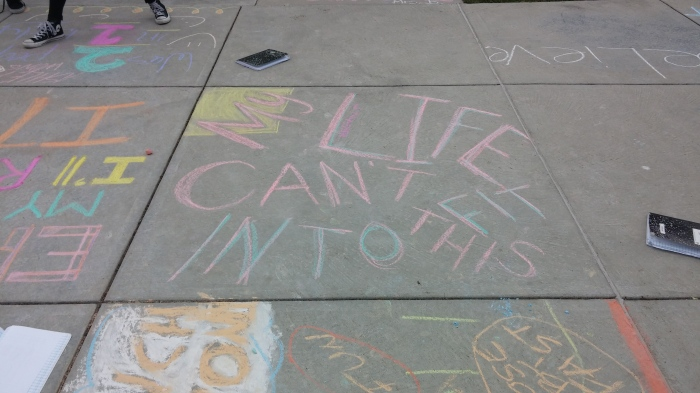 Six word memoirs written in chalk. What would your's say?